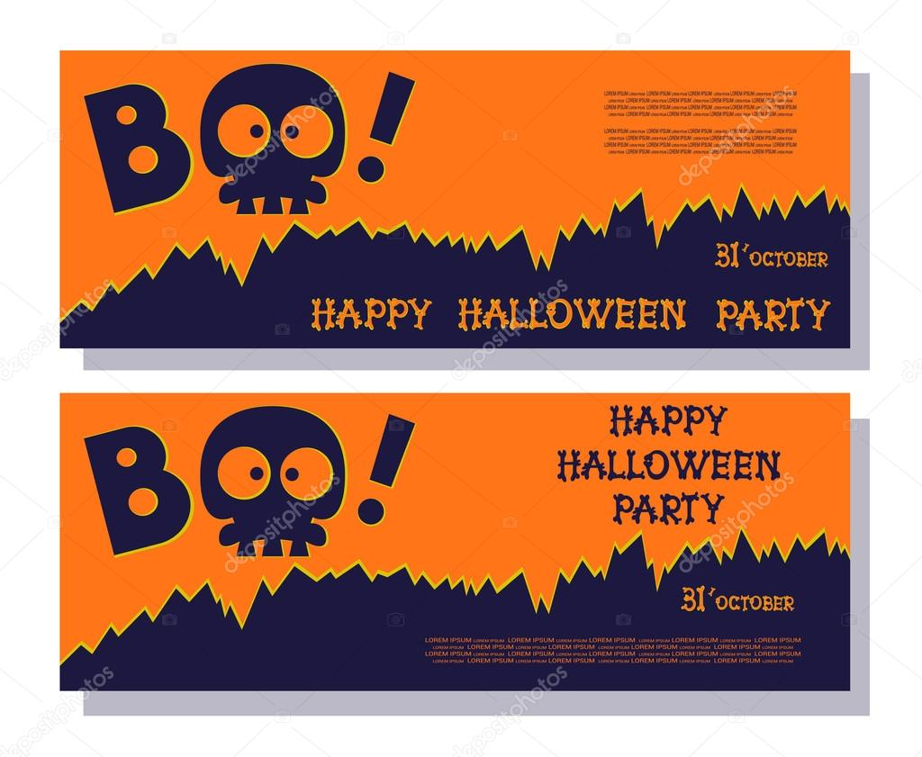 Funny holiday banner: title Boo from skull skeleton and Happy ...