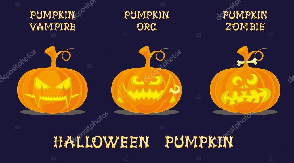 Set Of Halloween Pumpkins With Scary Face In Different