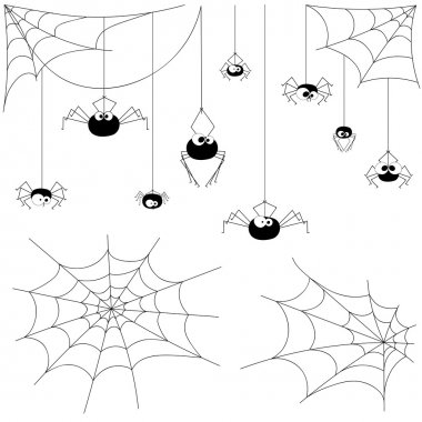 Set vector design elements spiders and webs isolated on white background. All elements are saved also as a brush