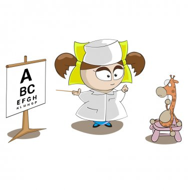 Vector little girl doctor with giraffe toy isolated on white background