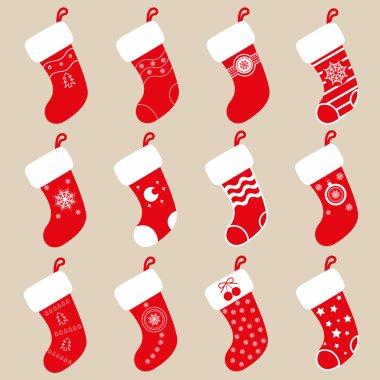 Set vectors design elements: 12 Christmas gift socks