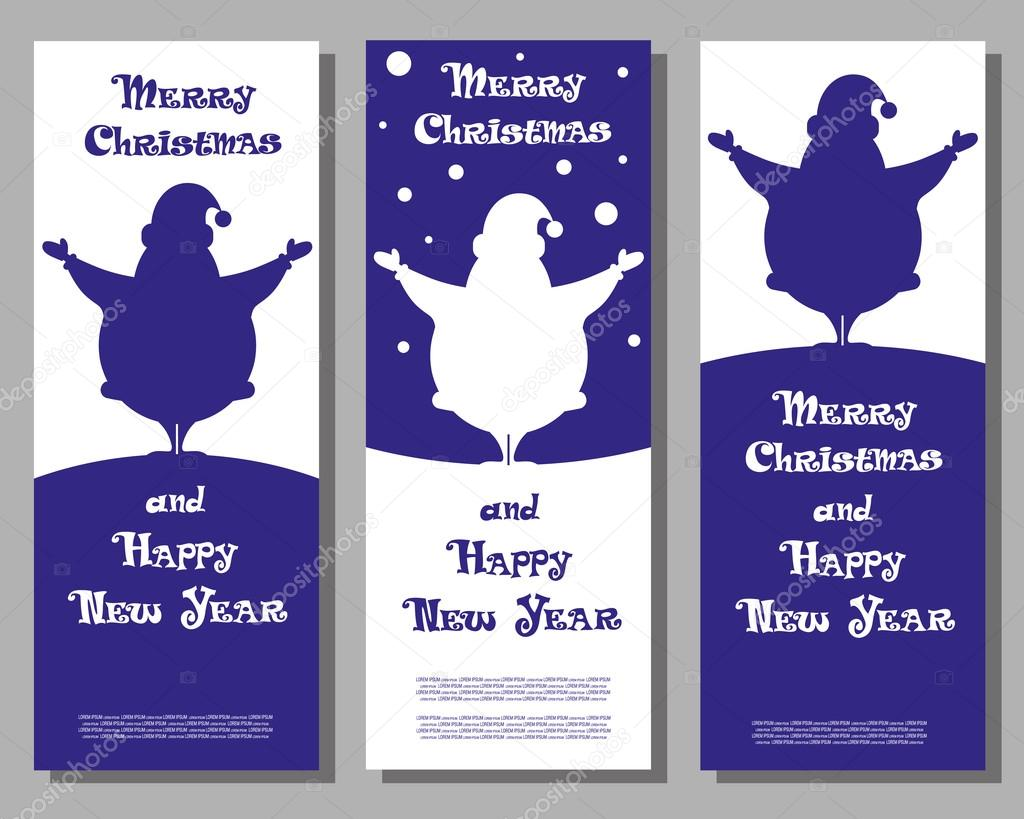 set vector christmas banner santa claus silhouettes for design