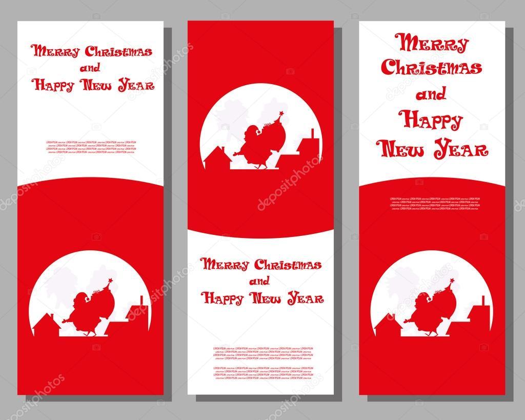 Set vecteur noël bannière Père Noël avec sac cadeaux grands marchant sur le  toit sur un fond de silhouettes de toits de la ville et de la lune pour les  ... e9092bef99c