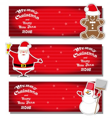 Set vector Christmas banner with Santa Claus, snowman, Gingerbread Man and hand drawn text Merry Christmas and Happy New Year 2016 on red gradient stripped background