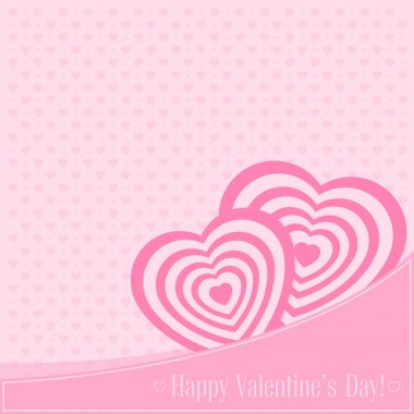 Vector illustration. Banner for design poster, card or invite Valentine's Day with hearts and title on pink background