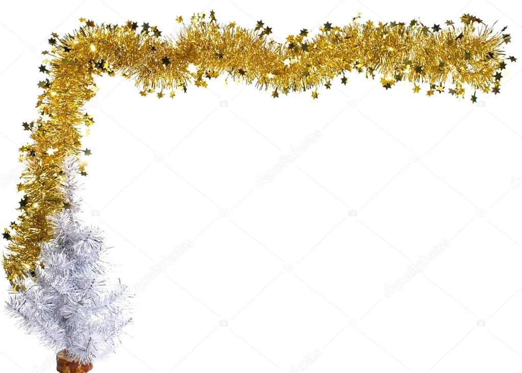 christmas or new year golden and silver border with tree photo by igor spb