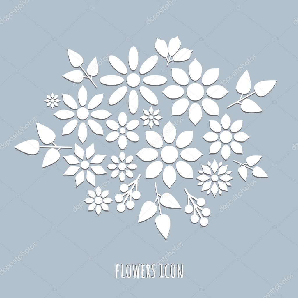 flat flowers  isolated