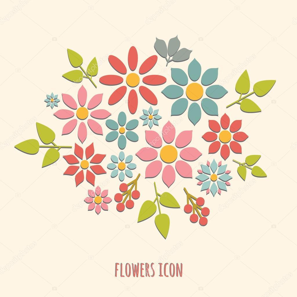 flat  flower  icons