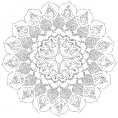 Mandala Vector Leaf Flower Coloring Art Simple Graphic Floral Oriental Outline Vintage Decorative Elements Illustration Islam Arabic Indian Turkish Mystic Religion Morals Lotus Practice Paint Print Screen Fabric Pattern Textile Symbol Circular Rose