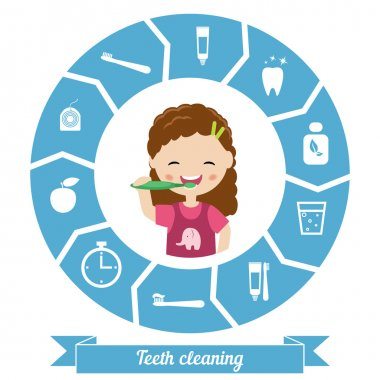 Teeth cleaning. Vector illustration.