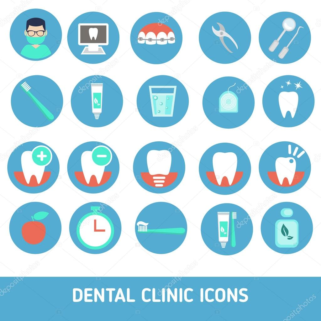 Set Of Dental Clinic Icons Stock Vector 102475758