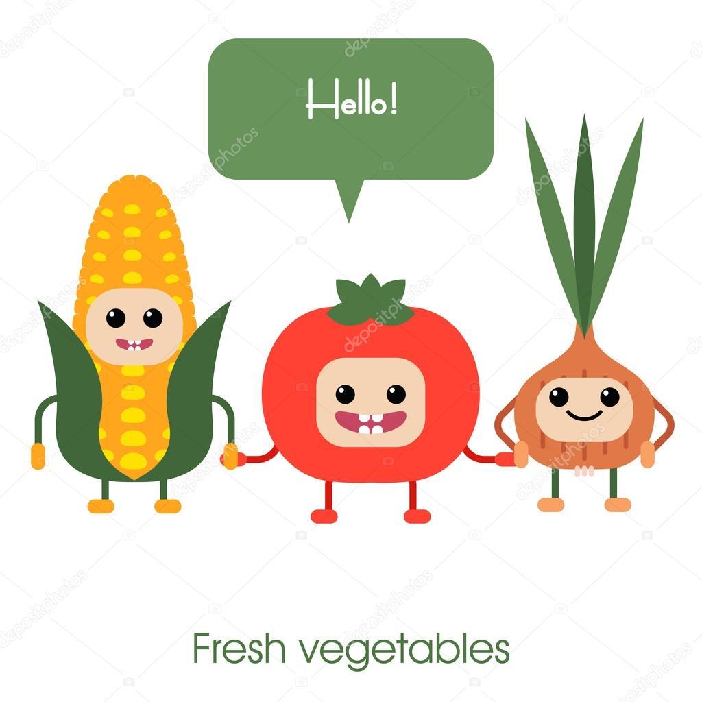 野菜のトウモロコシ、トマト、タマネギを笑って漫画かわいい — ストック