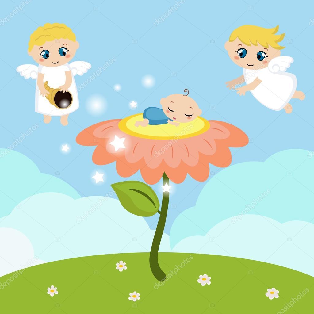 Ángeles con estrellas y bebé durmiendo en la flor — Archivo Imágenes ...