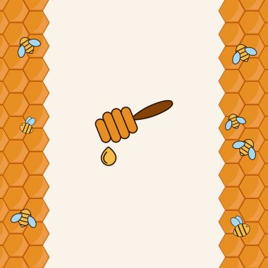 Background with bees on the honeycomb.