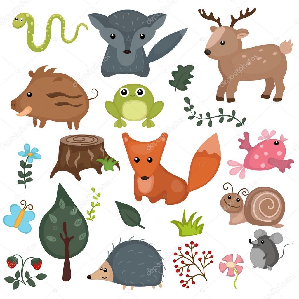 森の動物セット — ストックベクター © ninamunha #116863570