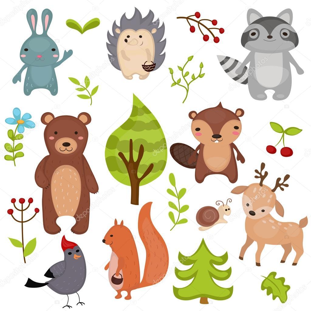 森の動物セット — ストックベクター © ninamunha #116863572