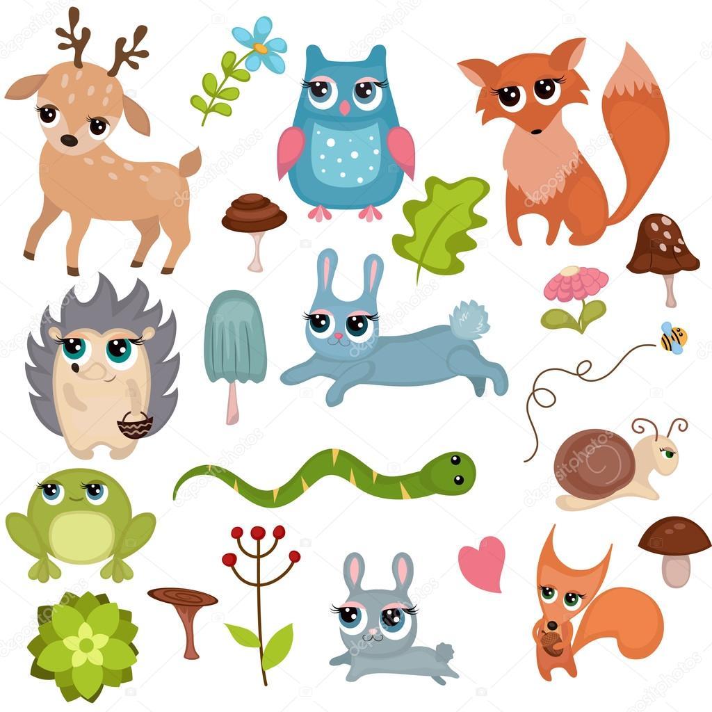 森の動物セット — ストックベクター © ninamunha #116863696