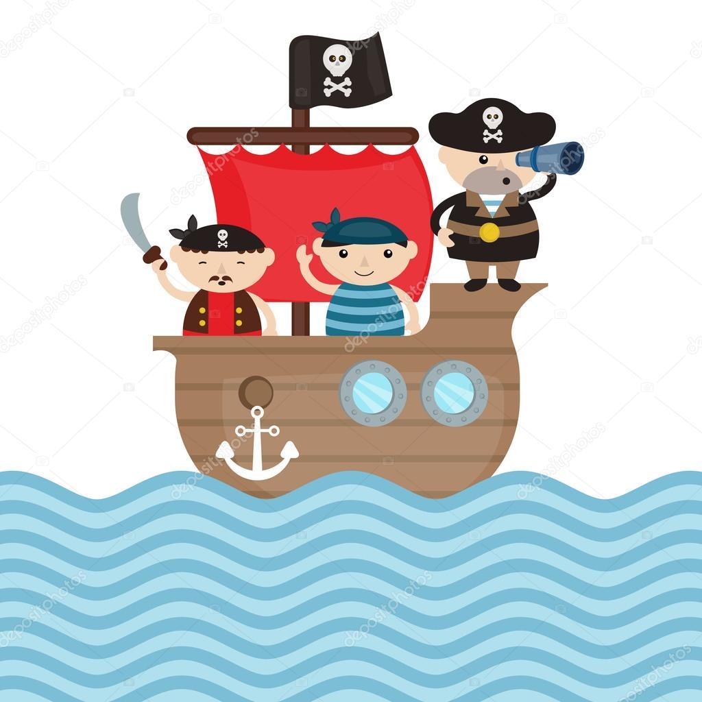 Ilustración De Barco Pirata — Vector