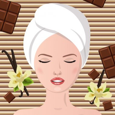 Spa therapy. Chocolate spa  party. Girl lying, his eyes closed. stock vector