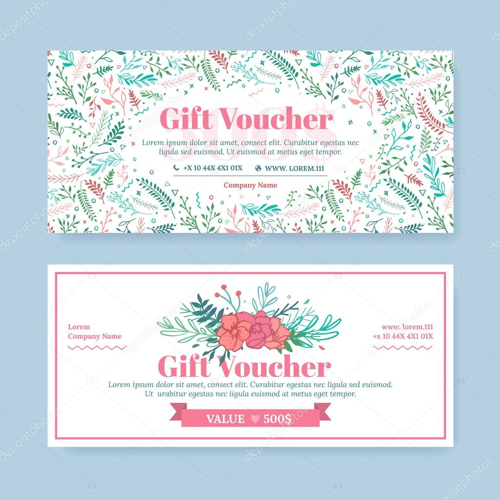 Gift certificate with delicate painted flowers in boho style.