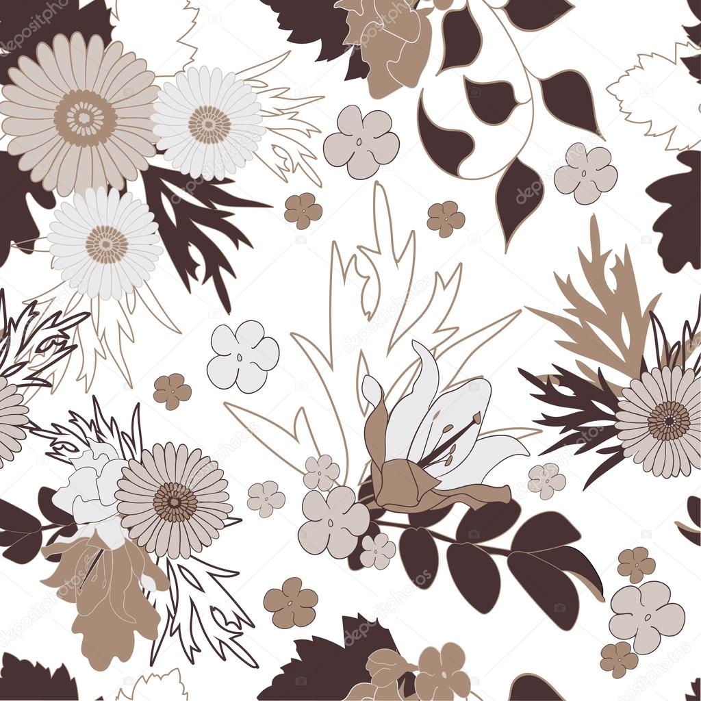 Seamless flower pattern on white background.