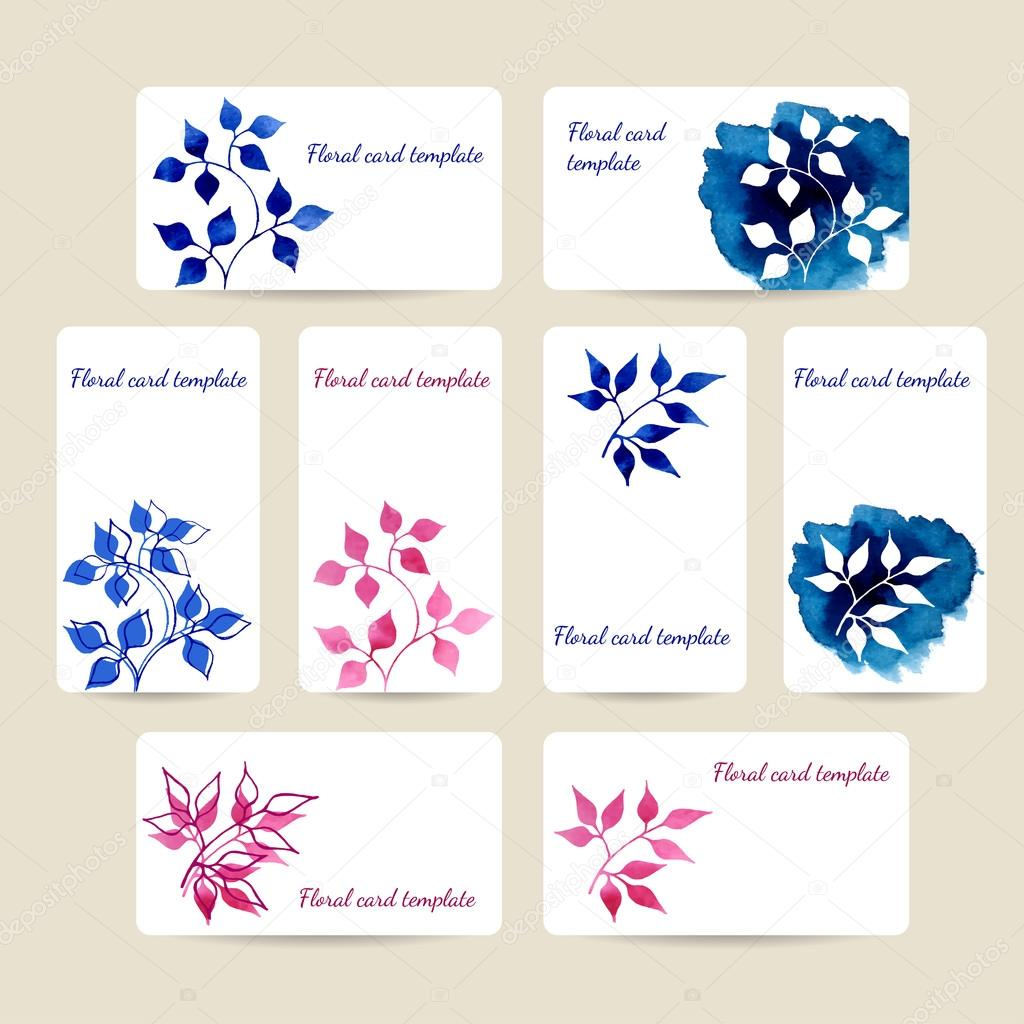 Card templates with watercolor plants