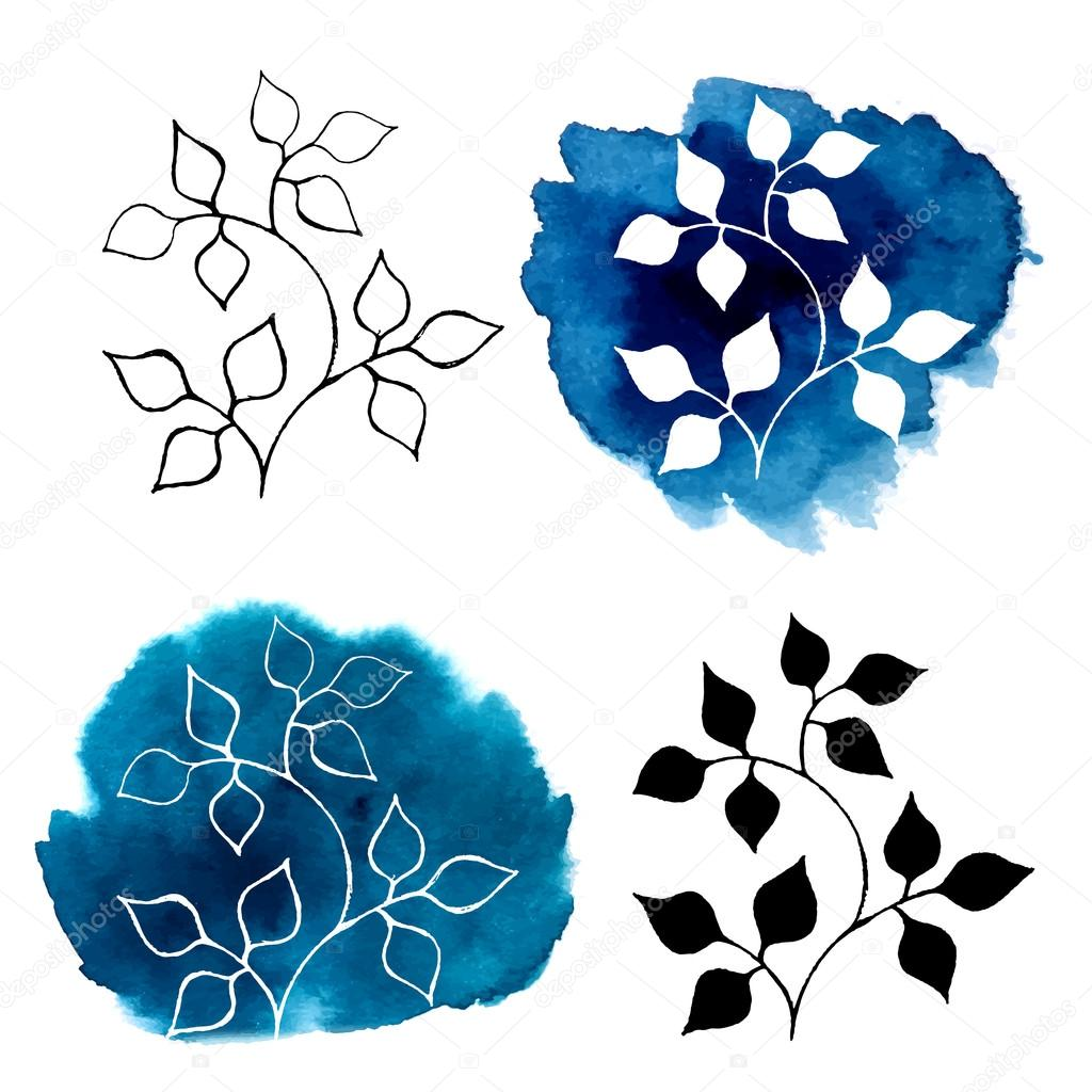 Abstract silhouettes of plants