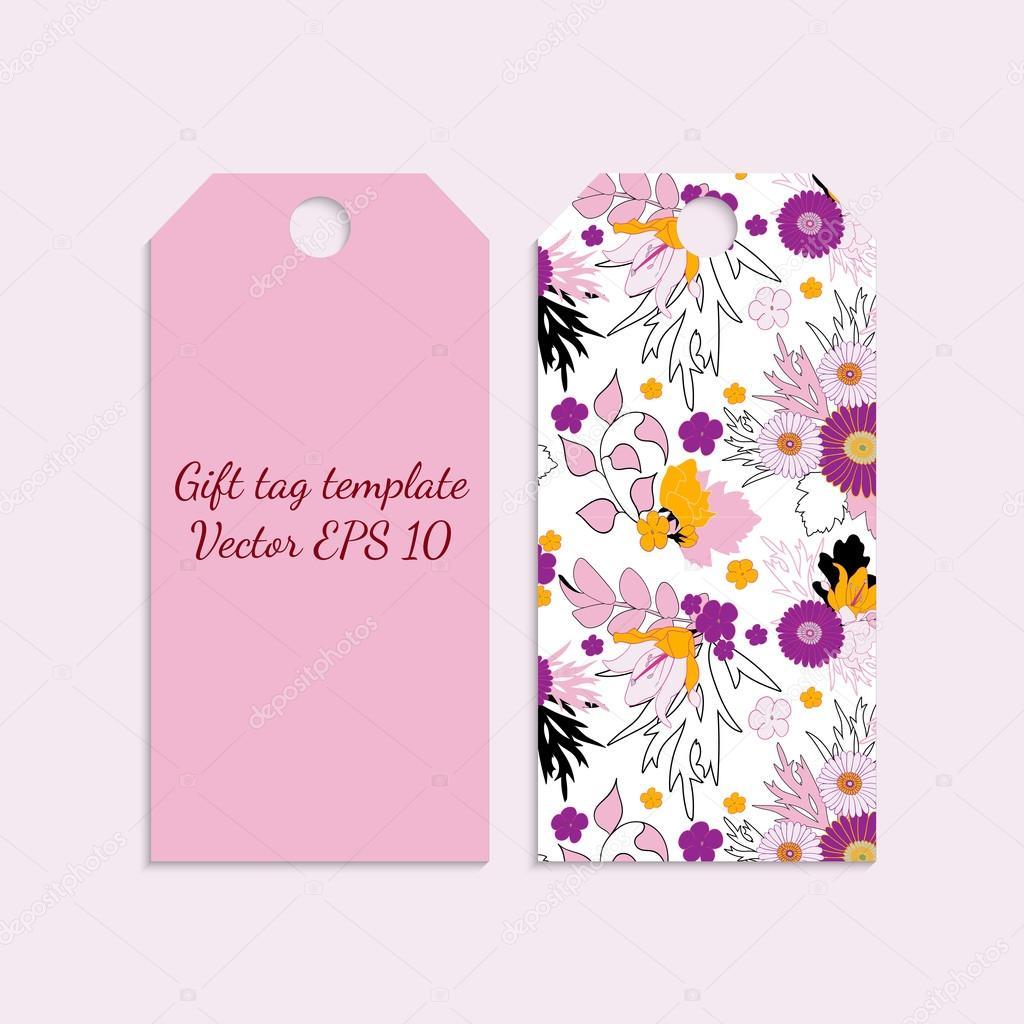 Plantilla de etiqueta de regalo con patrón de flores brillantes en ...