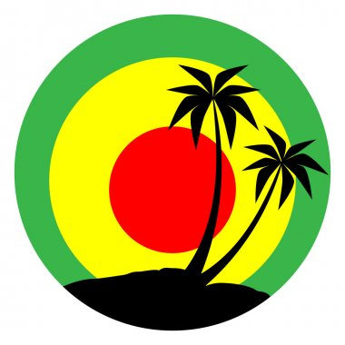 Reggae emblem with black pulms silhouette