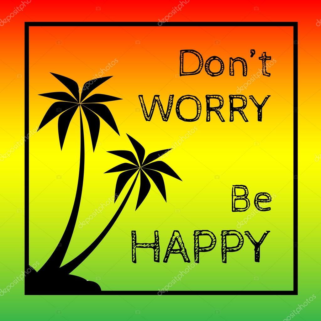 Reggae background with black pulms silhouette and quote