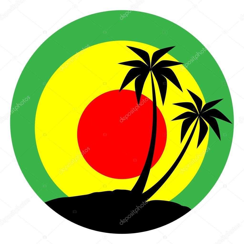 Reggae emblem with black pulms silhouette