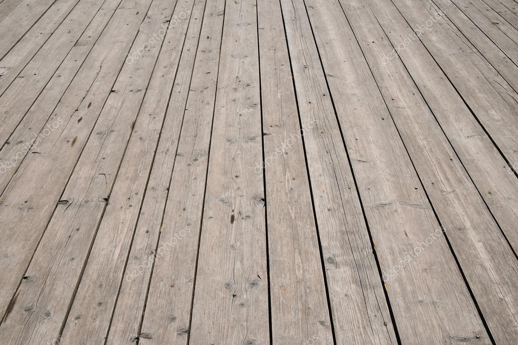 Vintage Wooden Surface With Planks And Gaps In Perspective Stock Photo