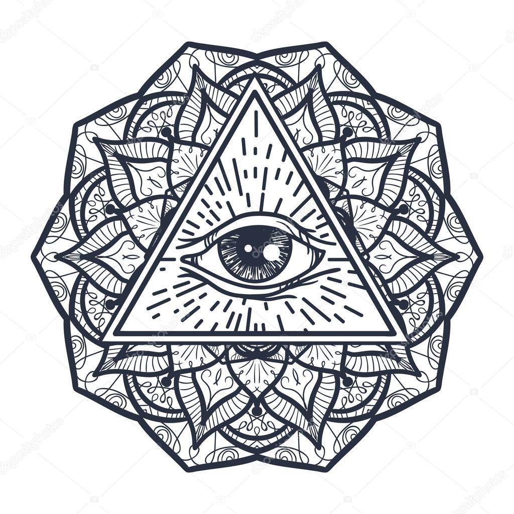 Ojo todo visión en triángulo y Mandal — Archivo Imágenes Vectoriales ...