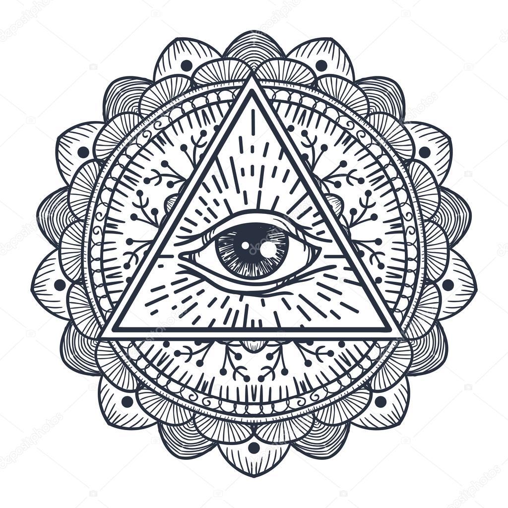 Ojo todo visión en triángulo y Mandal — Vector de stock © barsrsind ...