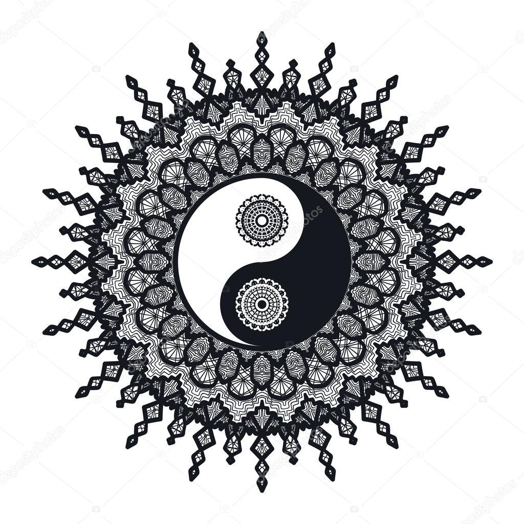 yin und yang im mandala  vektorgrafik lizenzfreie