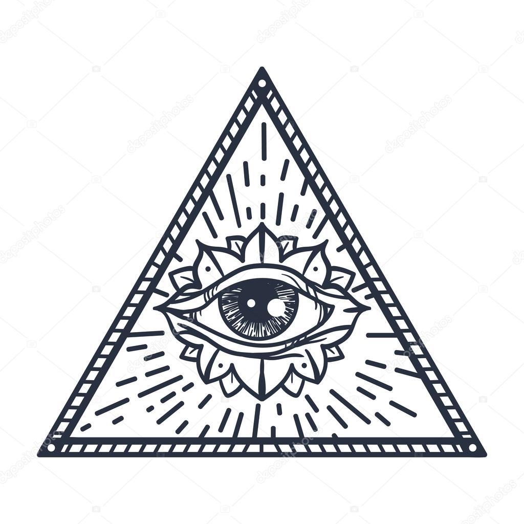 Ojo todo visión en triángulo — Vector de stock © barsrsind #116864626