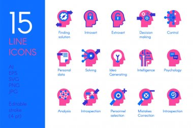 Human mind processes flat vector icons set. Brain science and psychology pink pictograms icon