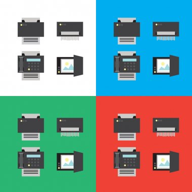 Print, scanner, fax and shredder flat icons or illustrations in