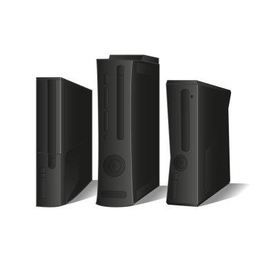 3 black consoles