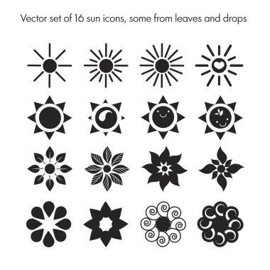 set of 16 sun icons