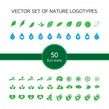 50 ecology icons, nature logo