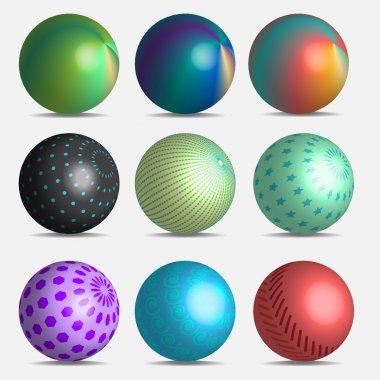 Nine 3d gradient balls