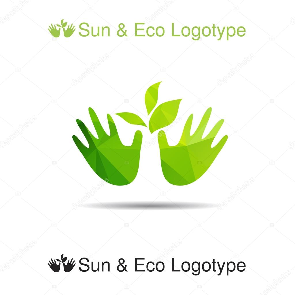 hands and green leaves logotype