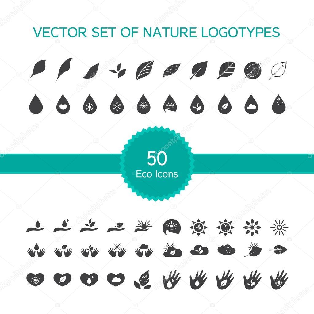 50 ecology icons, nature logo