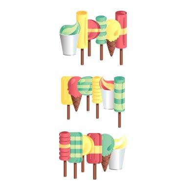 Colourful set of ice-creams