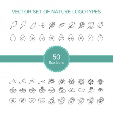 Vector set of 50 ecology icons