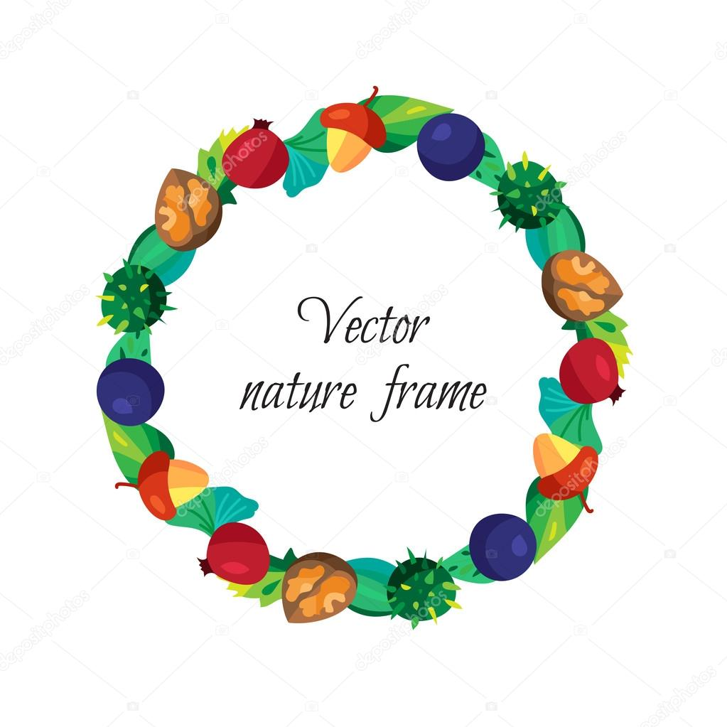 Vintage nuts, berry, fruits frame with leaves