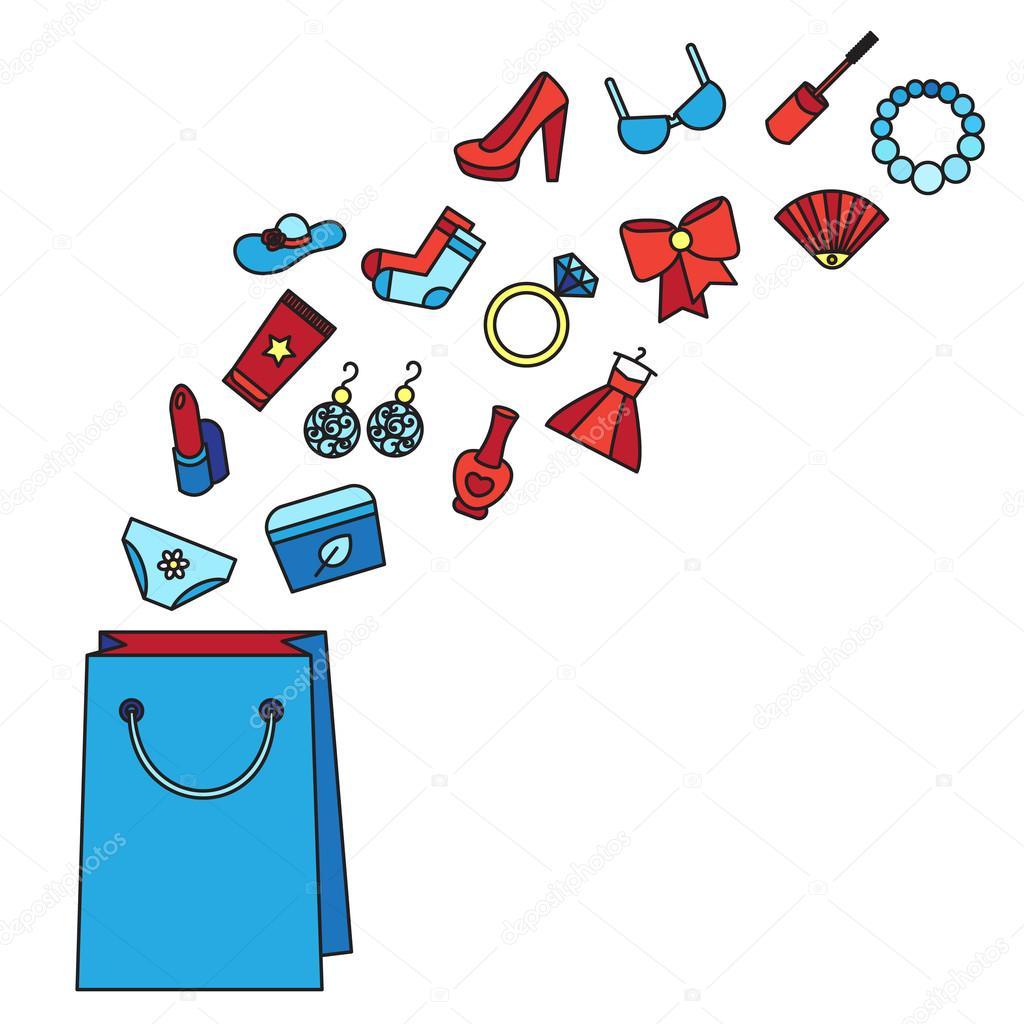 4556c9fc844925 Жінка речей. Аксесуарів та косметики, одяг, взуття та ювелірних виробів.  Великі продажу плакат з мішка. Покупки концепції. Вектор — Вектор від ...