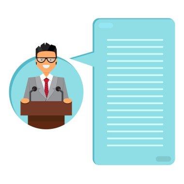 Professor or businessman on tribune