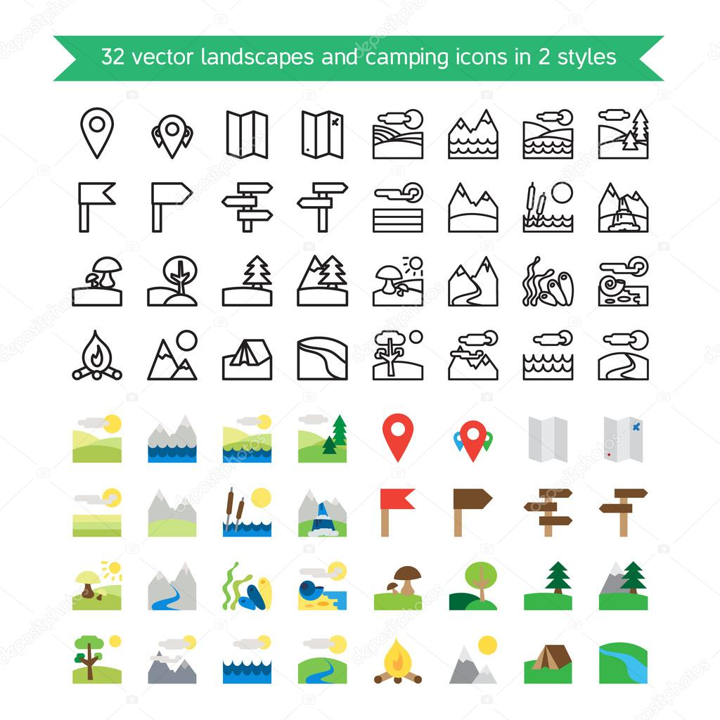Landscapes and camping icons